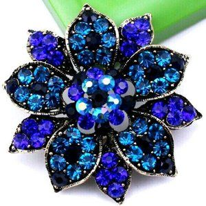 Luxurious DEEP Blues ORNATE Flower 3D LOTUS Brooch